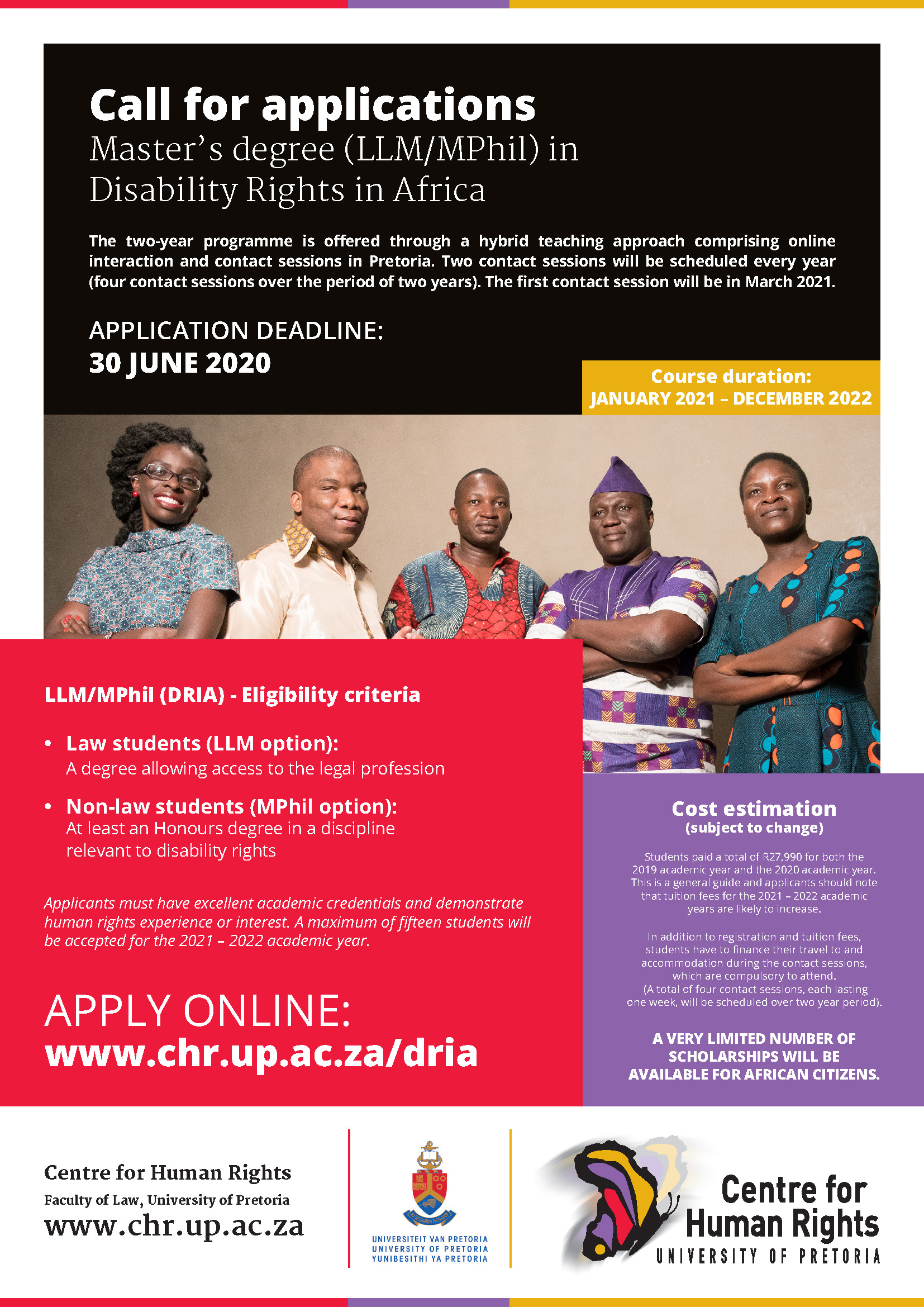 LLM MPhil DRIA Centre for Human Rights advert 2020