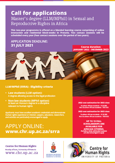 LLM MPhil SRRA Centre for Human Rights advert 2021