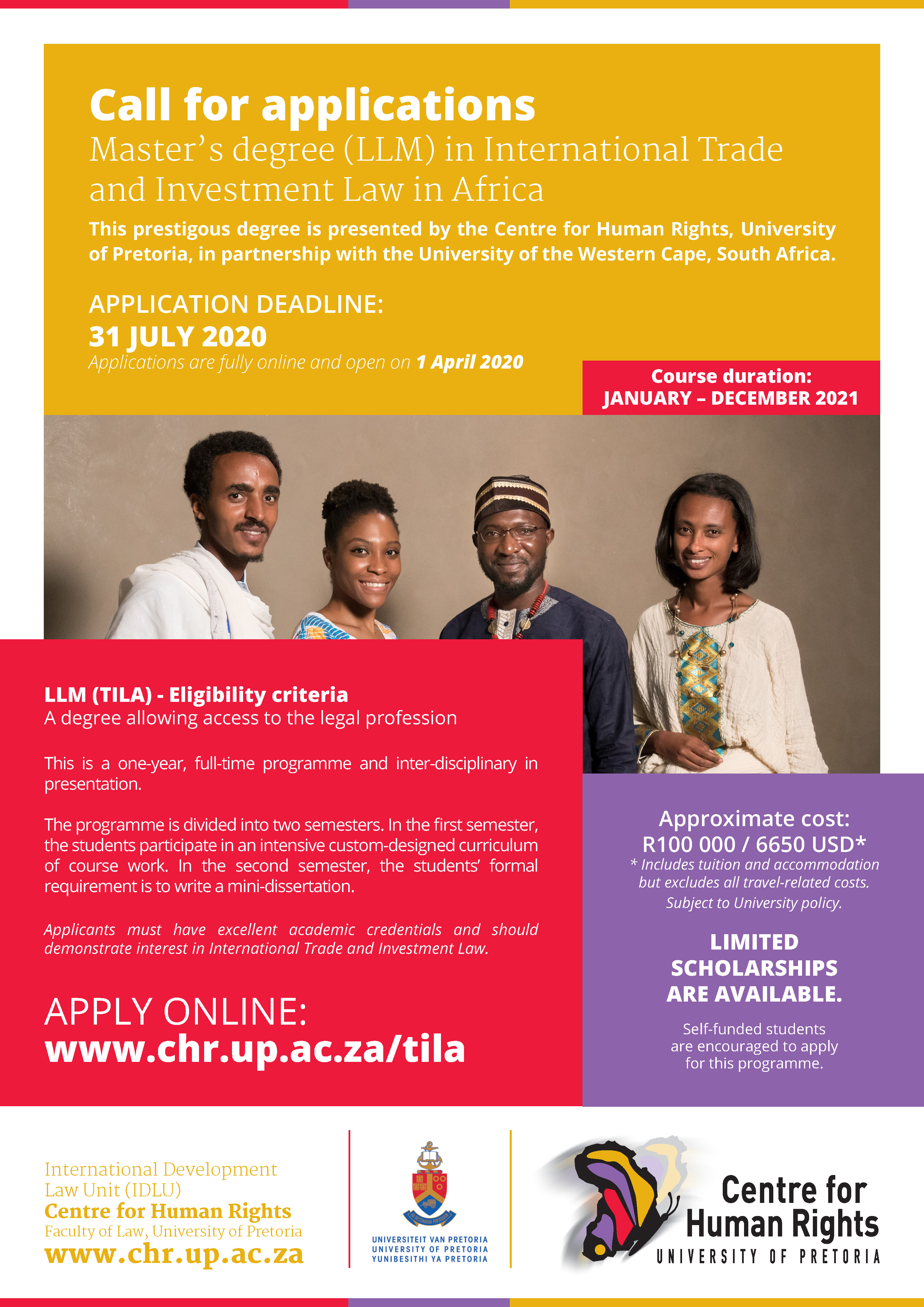 LLM TILA Centre for Human Rights advert 2020