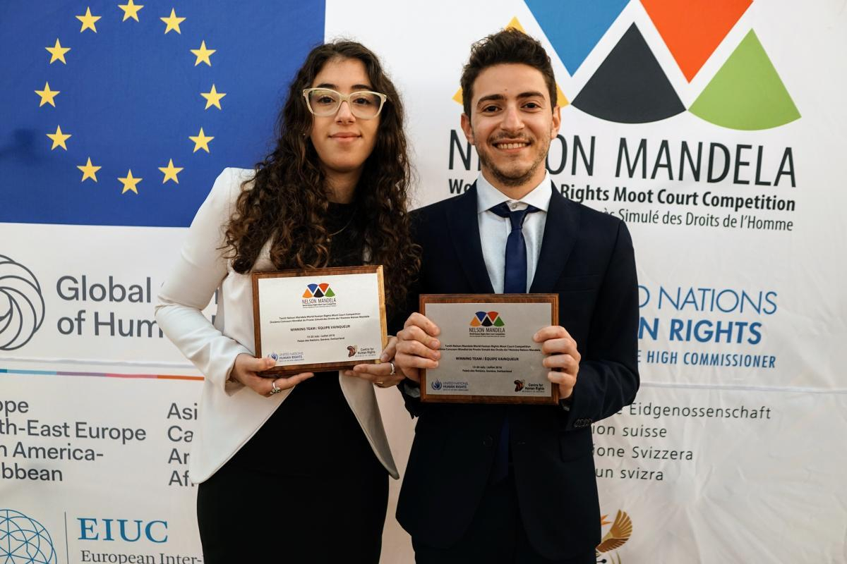 The winning team of the 10th Nelson Mandela World Human Rights Moot Court Competition: The University of Buenos Aires in Argentina